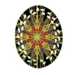 Kaleidoscope Flower Mandala Art Black Yellow Orange Red Oval Filigree Ornament (2 Side)  by yoursparklingshop