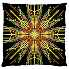 Kaleidoscope Flower Mandala Art Black Yellow Orange Red Large Cushion Case (one Side) by yoursparklingshop