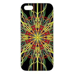Kaleidoscope Flower Mandala Art Black Yellow Orange Red Apple Iphone 5 Premium Hardshell Case