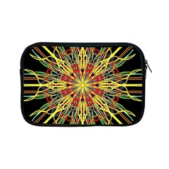 Kaleidoscope Flower Mandala Art Black Yellow Orange Red Apple Ipad Mini Zipper Cases by yoursparklingshop