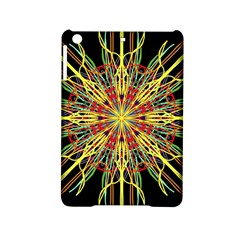 Kaleidoscope Flower Mandala Art Black Yellow Orange Red Ipad Mini 2 Hardshell Cases by yoursparklingshop