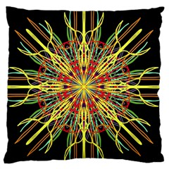 Kaleidoscope Flower Mandala Art Black Yellow Orange Red Large Flano Cushion Case (two Sides) by yoursparklingshop