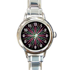Pink Turquoise Black Star Kaleidoscope Flower Mandala Art Round Italian Charm Watch by yoursparklingshop
