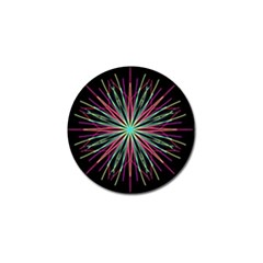 Pink Turquoise Black Star Kaleidoscope Flower Mandala Art Golf Ball Marker (10 Pack) by yoursparklingshop