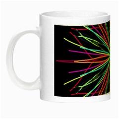 Pink Turquoise Black Star Kaleidoscope Flower Mandala Art Night Luminous Mugs by yoursparklingshop