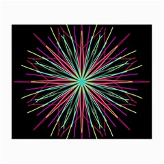 Pink Turquoise Black Star Kaleidoscope Flower Mandala Art Small Glasses Cloth by yoursparklingshop