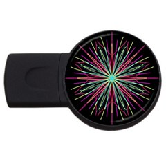 Pink Turquoise Black Star Kaleidoscope Flower Mandala Art Usb Flash Drive Round (4 Gb)  by yoursparklingshop
