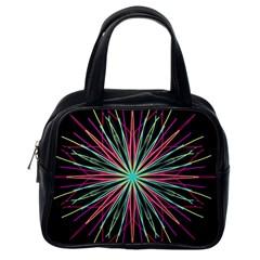 Pink Turquoise Black Star Kaleidoscope Flower Mandala Art Classic Handbags (one Side) by yoursparklingshop