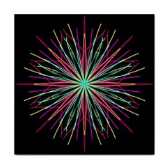 Pink Turquoise Black Star Kaleidoscope Flower Mandala Art Face Towel by yoursparklingshop