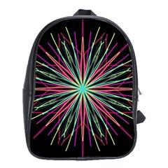 Pink Turquoise Black Star Kaleidoscope Flower Mandala Art School Bags(large)  by yoursparklingshop