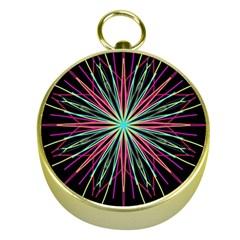 Pink Turquoise Black Star Kaleidoscope Flower Mandala Art Gold Compasses by yoursparklingshop