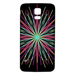 Pink Turquoise Black Star Kaleidoscope Flower Mandala Art Samsung Galaxy S5 Back Case (white) by yoursparklingshop