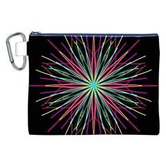 Pink Turquoise Black Star Kaleidoscope Flower Mandala Art Canvas Cosmetic Bag (xxl)  by yoursparklingshop