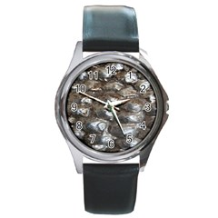 Festive Silver Metallic Abstract Art Round Metal Watch by yoursparklingshop