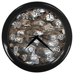 Festive Silver Metallic Abstract Art Wall Clocks (black) by yoursparklingshop