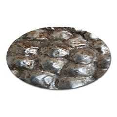 Festive Silver Metallic Abstract Art Oval Magnet by yoursparklingshop