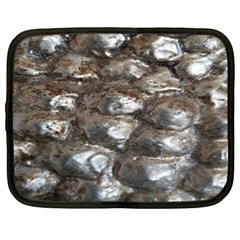 Festive Silver Metallic Abstract Art Netbook Case (xl)  by yoursparklingshop