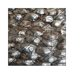 Festive Silver Metallic Abstract Art Acrylic Tangram Puzzle (6  X 6 ) by yoursparklingshop