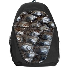 Festive Silver Metallic Abstract Art Backpack Bag by yoursparklingshop