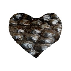 Festive Silver Metallic Abstract Art Standard 16  Premium Flano Heart Shape Cushions by yoursparklingshop