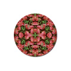 Floral Collage Pattern Magnet 3  (round) by dflcprints
