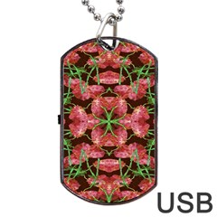 Floral Collage Pattern Dog Tag Usb Flash (one Side) by dflcprints