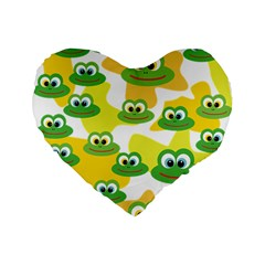 Cute Frog Family Whimsical Funny Standard 16  Premium Flano Heart Shape Cushions by CircusValleyMall
