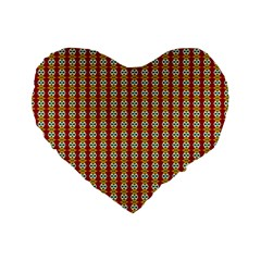 Christiane Anna  Small Pattern Red Yellow Green White Standard 16  Premium Heart Shape Cushions by CircusValleyMall