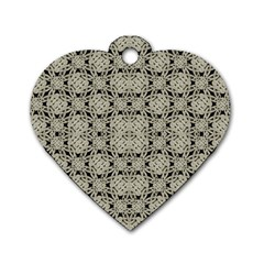 Interlace Arabesque Pattern Dog Tag Heart (two Sides) by dflcprints