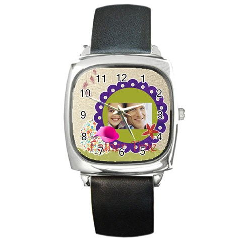 Dad By Dad   Square Metal Watch   Wy1ap6w8ydfm   Www Artscow Com Front