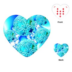 Blue Ice Crystals, Abstract Aqua Azure Cyan Playing Cards (heart)  by DianeClancy