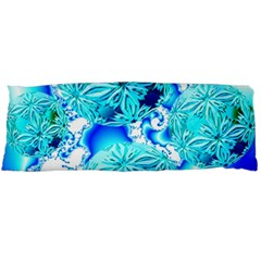 Blue Ice Crystals, Abstract Aqua Azure Cyan Body Pillow Case (dakimakura) by DianeClancy