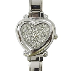 Black And White Abstract Texture Heart Italian Charm Watch by dflcprints