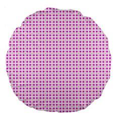 Rigmor Sorroya Retro Pattern Pink Peach White Large 18  Premium Flano Round Cushions by CircusValleyMall
