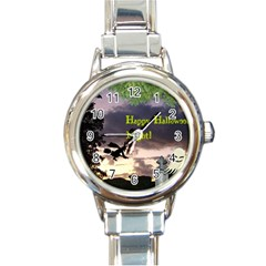 Happy Halloween Night Witch Flying Round Italian Charm Watch by canvasngiftshop