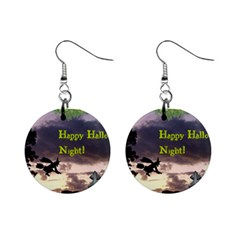 Happy Halloween Night Witch Flying Mini Button Earrings by canvasngiftshop