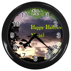 Happy Halloween Night Witch Flying Wall Clocks (black) by canvasngiftshop