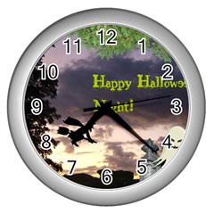 Happy Halloween Night Witch Flying Wall Clocks (silver)  by canvasngiftshop