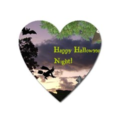 Happy Halloween Night Witch Flying Heart Magnet by canvasngiftshop