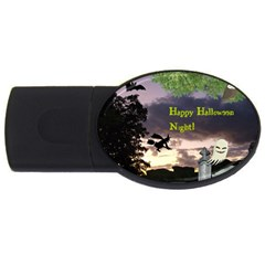 Happy Halloween Night Witch Flying Usb Flash Drive Oval (2 Gb)  by canvasngiftshop