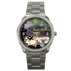 Happy Halloween Night Witch Flying Sport Metal Watch by canvasngiftshop