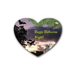 Happy Halloween Night Witch Flying Heart Coaster (4 Pack)  by canvasngiftshop