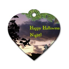 Happy Halloween Night Witch Flying Dog Tag Heart (one Side) by canvasngiftshop