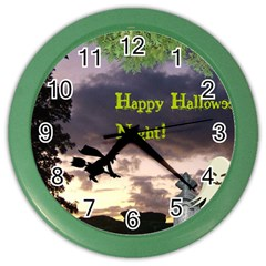 Happy Halloween Night Witch Flying Color Wall Clocks by canvasngiftshop