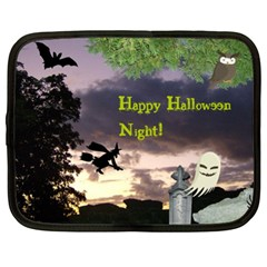 Happy Halloween Night Witch Flying Netbook Case (xl)  by canvasngiftshop
