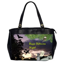 Happy Halloween Night Witch Flying Office Handbags (2 Sides)  by canvasngiftshop