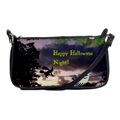 Happy Halloween Night Witch Flying Shoulder Clutch Bags by canvasngiftshop