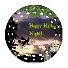 Happy Halloween Night Witch Flying Round Filigree Ornament (2side) by canvasngiftshop
