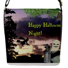 Happy Halloween Night Witch Flying Flap Messenger Bag (s) by canvasngiftshop