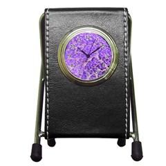 Festive Chic Purple Stone Glitter  Pen Holder Desk Clocks by yoursparklingshop
